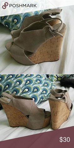 Steve Madden Suede Cork Wedges This is a re-Posh- just got them in the mail and they're too small. Absolutely obsessed with these wedges, but they fit more like a 6 or 6 1/2 than a 7, so they're too small for me. In gorgeous gently used condition. Steve Madden Shoes Wedges