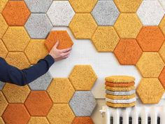 """Colorful Hexagonal Wall Tiles Made From Sound-Absorbing """"Wood Wool"""" Hexagonal Wall Tiles by Form us With Love – Inhabitat - Sustainable Design Innovation, Eco Architecture, Green Building Hexagon Wall Tiles, Wood Tiles, Cement Tiles, Cork Wall Tiles, Honeycomb Tile, Honeycomb Shape, Tile Flooring, Flooring Ideas, Do It Yourself Furniture"""