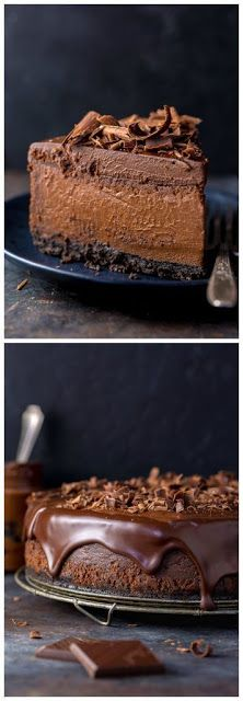 Ultimate Chocolate Cheesecake – The Best Chocolate Cheesecake Recipe Rich, creamy, and supremely flavorful, this is the ULTIMATE Chocolate Cheesecake! It's so easy to make and freezer friendly! No Bake Desserts, Just Desserts, Delicious Desserts, Dessert Recipes, Yummy Food, Quick Dessert, Crepe Recipes, Health Desserts, Dinner Recipes