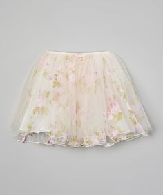 Look what I found on #zulily! White Floral Layered Skirt - Toddler & Girls by Richie House #zulilyfinds