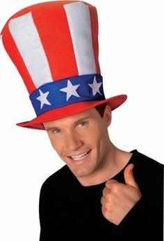 "Privateislandparty.com - Patriotic USA Stovepipe Hat 4th of July 5925 $2.50 Great accessory for Independence Day! Wear it with Pride. Oversized hat has wire brim, red and white stripe with white stars on a blue background hat band. Very Tall Hat Size: 26 Tall"" Adjustable inside, fits all heads."