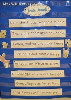 January poems and reading stations for kindergarten! Poetry for arctic animals Preschool Songs, Kindergarten Science, Preschool Themes, Kindergarten Poetry, Science Curriculum, Preschool Crafts, Winter Fun, Winter Theme, Animal Activities