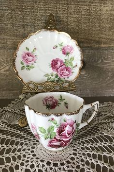 C&E Victoria Vintage Bone China ROSE Scalloped Cup and Saucer