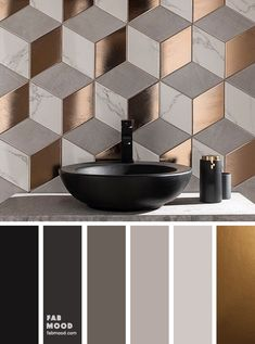 Beautiful rectangle tile shaped in different textures and colors of light grey marble , grey and gold copper from Topps Tiles made this bathroom look so unique and modern. We love how the different textures compliment each other. Copper Colour Palette, Gold Color Scheme, Copper Color, House Color Palettes, Color Schemes Colour Palettes, Bedroom Color Schemes, Grey Living Room Ideas Colour Palettes, Copper Living Room, Decoration Bedroom
