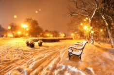 Snow in Timisoara, Romania - photo by Razvan Vitionescu Blurred Background, Bokeh, Outdoor Furniture, Outdoor Decor, Snow, Winter, Timisoara Romania, Home Decor, Holidays