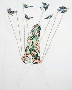 embroider illustration - birds