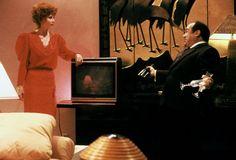 Carol Dodsworth (Anita Morris) and Sam Stone (Danny DeVito) ~ Ruthless People (1986) ~ Movie Stills ~ #comedies #80smovies #80scomedies #moviestills
