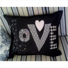 Black white Love cushion cover pillow personalised handmade new bespoke Handcraf on eBid United Kingdom