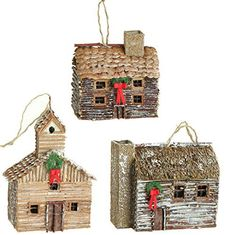 "5.5"" Cabin Ornaments - Set of 3  Price : $49.95 http://www.perfectlyfestive.com/RAZ-Imports-5-5-Cabin-Ornaments/dp/B00MN50XDY"