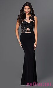 Buy Floor Length Prom Dress with Lace Bodice at PromGirl