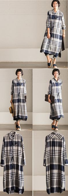 Cotton long sleeve shirt dress for simple and casual look. Cotton Shirt Dress, Long Sleeve Shirt Dress, Modest Fashion, Hijab Fashion, Trendy Dresses, Casual Dresses, Linen Dresses, Dresses With Sleeves, Sewing Shirts