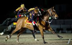 Members of the President's Bodyguard from India give a demonstration of Tent Pegging  Picture: LEON NEAL/AFP/Getty Images