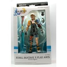 """Final Fantasy X Play Arts Action Figure - Tidus by Square Enix. $64.95. Figure includes a display base and comes in a collectible window box package.. This figure is highly articulated and can be posed in. At least 20 points of articulation. For age 15 and up. Stands 7"""" tall. Final Fantasy X Play Arts Action Figure - Tidus   by Square Enix"""
