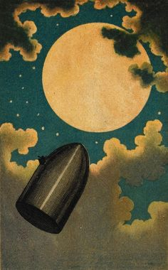 "magictransistor: ""Émile-Antoine Bayard, The Projectile Passing The Moon; From The Earth To The Moon (Jules Verne), 1877. """