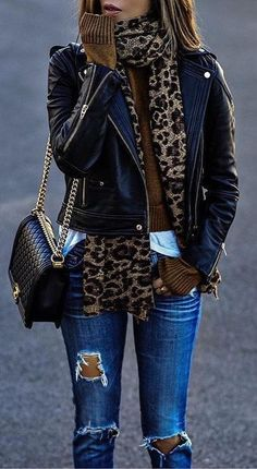 #fall #outfits Leopard Scarf // Leather Jacket // Destroyed Jeans // Shoulder Bag