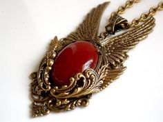 4923458fc2da Gold Angel Wings Gothic Pendant Carnelian Agate by LeBoudoirNoir