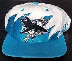 ce8dbb09086 San Jose Sharks Vintage Snapback Logo Athletic Sharktooth Hat NHL Cap RARE  Wool Nhl Cap