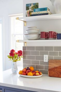 Modern Deco Kitchen Reveal - Emily Henderson Hey Guys, it's me Ginny again bringing you a big reveal Kitchen Shelves, Kitchen Storage, Kitchen Decor, Kitchen Ideas, Kitchen Colors, Mary's Kitchen, Kitchen Updates, Kitchen Layout, Kitchen Styling