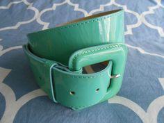 L.K. BENNETT Green Patent Leather Small wide belt USED  #LKBennett #NA