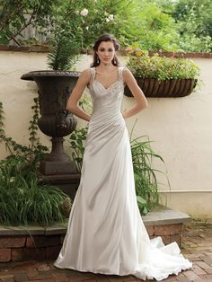 A-line bridal satin  gown with beading embellishment