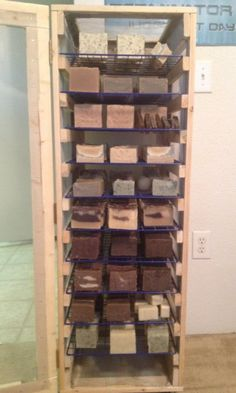 LOVE this idea! wire-cube shelves, slide out, surrounded by screen