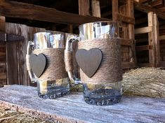 Rustic Hemp Wrapped Beer Mugs His and Hers Bride by FlowerChild216