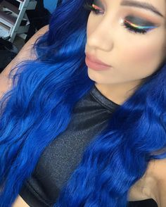 Synthetic Lace Front Wigs, Synthetic Wigs, Blue Lace Front Wig, Wwe Divas Paige, Halloween Horror Movies, Wwe Sasha Banks, Blue Wig, Wwe Female Wrestlers, Wwe Girls