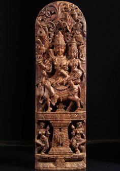 """View the Wood Shiva Parvati Nandi Statue 48"""""""