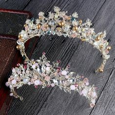 Cheap wedding hair accessories, Buy Quality crystal tiara directly from China crown wedding Suppliers: Bride Hair Jewelry Baroque Handmade Beaded Luxury Pink Crystal Tiara Sweet Princess Crown Wedding Hair Accessories Wholesale Wholesale Hair Accessories, Hair Accessories For Women, Wedding Hair Accessories, Bride Accessories, Silver Accessories, Bridal Crown, Bridal Tiara, Pearl Bridal, Hair Jewelry