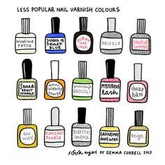 Less Popular Nail Varnishes - by Gemma Correll | Art Print