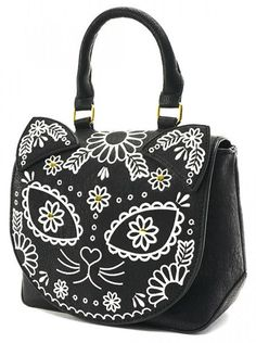 "pastel romantix - Women's ""Sugar Skull Cat"" Crossbody Bag by Loungefly (Black) Novelty Handbags, Novelty Bags, My Bags, Purses And Bags, Sugar Skull Cat, Sugar Skulls, Womens Designer Bags, Cat Bag, Leather Crossbody Bag"