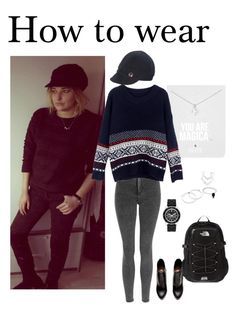 """Boyfriend's sweaters"" by ellabeentjes on Polyvore featuring The North Face, Topshop, Dogeared, ibex and H&M"