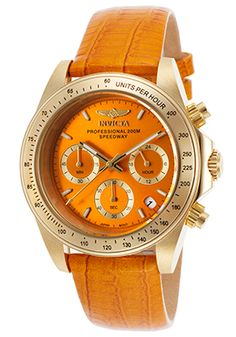 Invicta Women's Speedway Chronograph Orange Genuine Leather and Dial