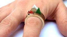 Mixed House, Tree and Mountain Rings set of rings from UK-based designer Clive Roddy, $23 !!