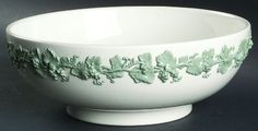 "Wedgwood Celadon On Cream Color (Plain Edge) 10"" Large Salad Serving Bowl"
