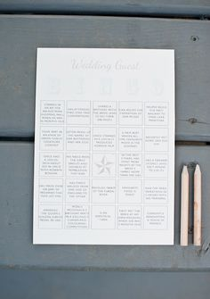 Wedding guest BINGO! Great idea to keep guests busy while the bride & groom sneak away for some photos!