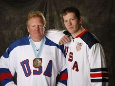 """Ryan Suter with dad Bob. Bob Suter was a member of 1980 US Olympic team who defeated the soviets. """"Miracle on ice"""" Olympic Hockey, Usa Hockey, Olympic Team, Hockey Teams, Us Olympics, Winter Olympics, Ryan Suter, Minnesota Wild, Coach Me"""