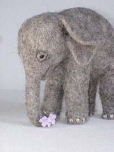 Needle Felted Baby Elephant by Tamara111, via Flickr