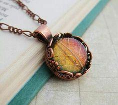Iridescent leaf necklace