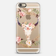 Watercolour Floral Bull Skull - Transparent - Classic Snap Case