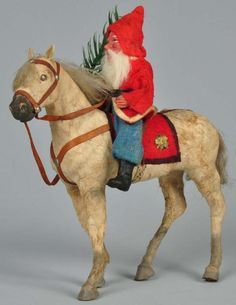 Santa riding horse with Dresden flower. German Christmas, Old Fashioned Christmas, Antique Christmas, Merry Little Christmas, Christmas Past, Cozy Christmas, Father Christmas, Country Christmas, Christmas Candy