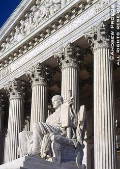 United States Supreme Court Exterior with Guardian Statue - http://andrewprokos.com