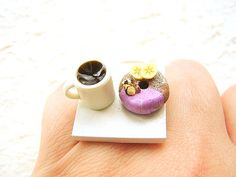 Not my style but cute :) Miniature Food Ring Coffee Donut by SouZouCreations