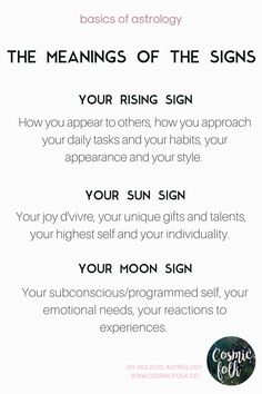 Learn the meanings of the 3 main parts of your birth chart - your rising sign, sun sign, and moon sign. Each one reveals another layer of your whole self. Learn more about DIY holistic astrology at www.cosmicfolk.co