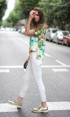 Look: Floral Shirt + Golden Oxfords