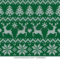 Christmas and New Year knitted pattern stock vector (royalty free) 523654837 Knitted Christmas and New Year pattern. Dragon Cross Stitch, Cross Stitch Tree, Mini Cross Stitch, Knitting Stiches, Knitting Charts, Knitting Patterns, Christmas Embroidery, Christmas Knitting, Needlepoint Patterns
