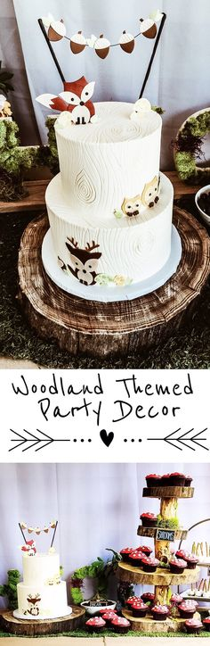 Woodland Themed Party Decor for a boy or girl baby shower or birthday party! Rustic, camping, woodsy, wood, camping, animals #themedcakes