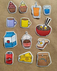 Homemade Stickers, Food Stickers, Kawaii Stickers, Diy Stickers, Kawaii Doodles, Cute Kawaii Drawings, Cute Laptop Stickers, Doll House Crafts, Cute Canvas Paintings