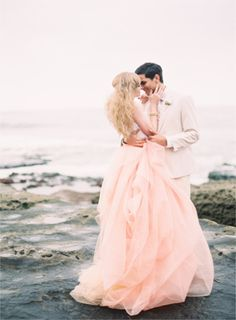 peachy pink tulle wedding dress