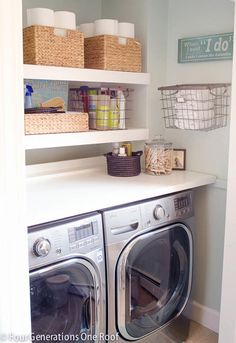 Top 40 Small Laundry Room Ideas and Designs 2018 Small laundry room ideas Laundry room decor Laundry room storage Laundry room shelves Small laundry room makeover Laundry closet ideas And Dryer Store Toilet Saving Laundry Closet, Laundry Room Organization, Small Laundry, Laundry Room Design, Laundry In Bathroom, Laundry Rooms, Organization Ideas, Storage Ideas, Laundry Storage